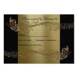 Svart guld- osa för fjärilsmusiktrohet 8,9 x 12,7 cm inbjudningskort