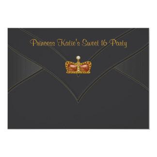 Svart guld- party för Princess Kröna Sötsak 16 12,7 X 17,8 Cm Inbjudningskort