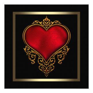 Svart guld- rött hjärtabröllop