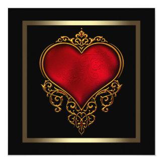 Svart guld- rött hjärtabröllop fyrkantigt 13,3 cm inbjudningskort