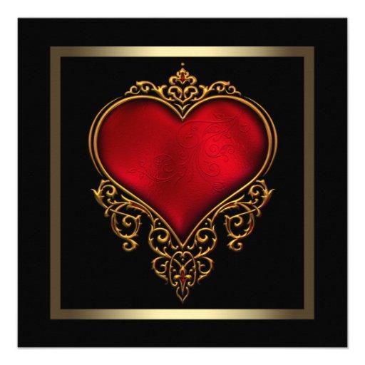 Svart guld- rött hjärtabröllop personliga tillkännagivande