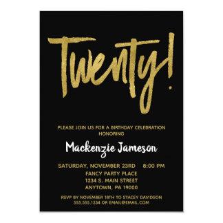 Svart guld skrivar den 20th födelsedagsfest 12,7 x 17,8 cm inbjudningskort