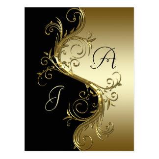 Svart guld- utsmyckat virvlar runt spara datera vykort