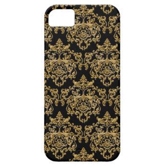 Svart guld- vintagedamast iPhone 5 skal