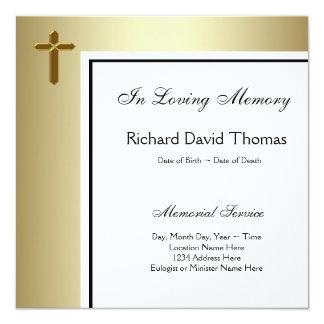 Svart guldkor, i att älska minnesminnesmärken fyrkantigt 13,3 cm inbjudningskort