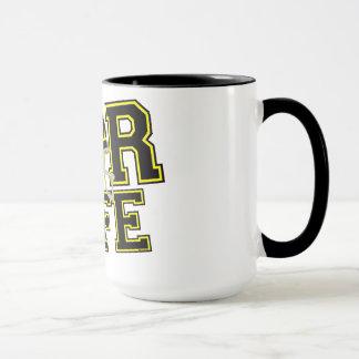 Svart & gult för ~ för fotbollkaffe-/Teakopp Mugg