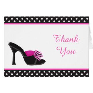 Svart häl skor med svart polka dotstack hälsningskort
