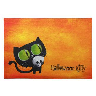 Svart Halloween katt med skallen Bordstablett