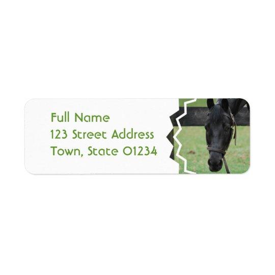 Svart hästbrevskickandeetiketter returadress etikett