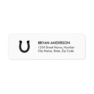 Svart hästskoreturadressetikett returadress etikett