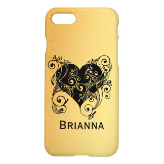 Svart hjärta för personlig med krusidullar på guld iPhone 7 skal