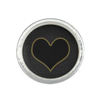 svart hjärta ring med foto