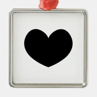 Svart hjärtaprydnad 0001 för singel julgransprydnad metall