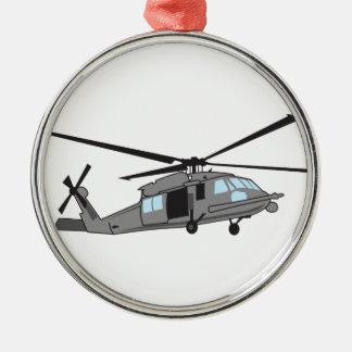 Svart hökhelikopter julgransprydnad metall