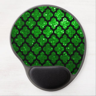 Svart Ikat Quatrefoil och grönt Fauxglitter 2 Gel Musmatta