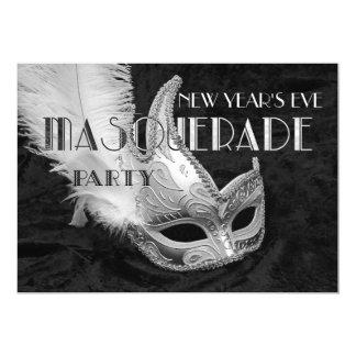 Svart inbjudan för party för silvermaskeradboll