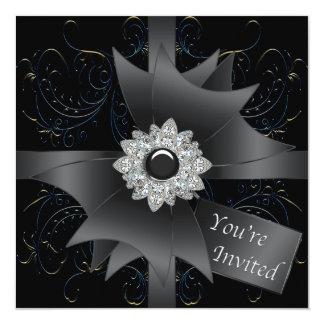 Svart inbjudanmall för tillfällen fyrkantigt 13,3 cm inbjudningskort