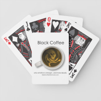 Svart kaffefilmlogotyp som leker kort spelkort