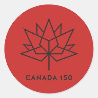 Svart Kanada 150 officielllogotyp - som är röd och Runt Klistermärke