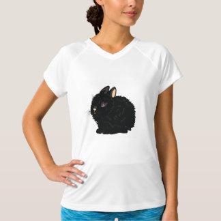 Svart kaninkvinna utslagsplats för aktiv t shirts