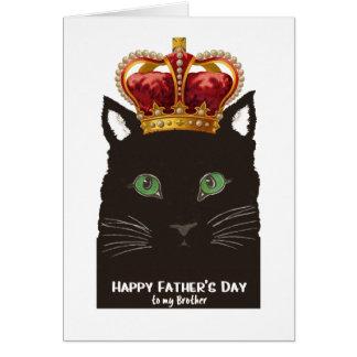 Svart katt för fars dag med kronan för broder hälsningskort