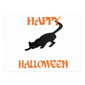 Svart katt för happy halloween vykort