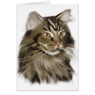 Svart katt för TabbyMaine Coon Hälsningskort