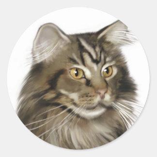 Svart katt för TabbyMaine Coon Runt Klistermärke