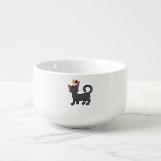 Svart katt för thanksgiving med indisk huvudbonad stor kopp för soppa