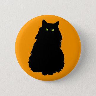 Svart katt för tjock på orangen standard knapp rund 5.7 cm