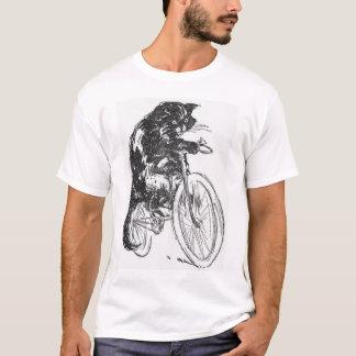 Svart katt för vintage på cykeln tee