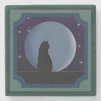 Svart katt, fullmåne, stjärnor underlägg sten