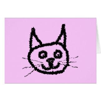 Svart katt hälsningskort