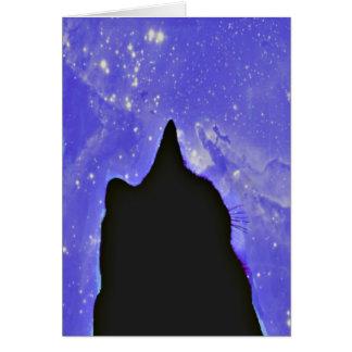 Svart katt i rymden hälsningskort