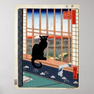Svart katt, japanskt tryck poster