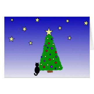 Svart katt och julgran OBS kort