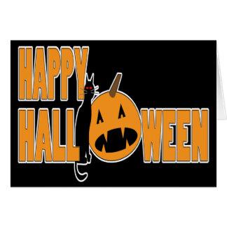 svart katt- och pumpahappy halloweenkort OBS kort