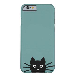 Svart katt på blått (färg är anpassadet), barely there iPhone 6 fodral