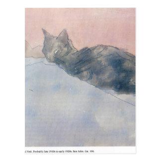 Svart katt på blått och rosor av Gwen John Vykort