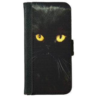 Svart katt plånboksfodral för iPhone 6/6s