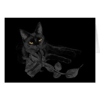 Svart katt, rosa hälsningkort för svart hälsningskort