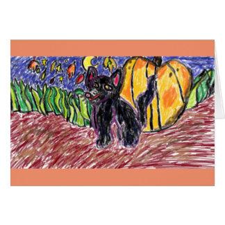 svart katt tre hälsningskort