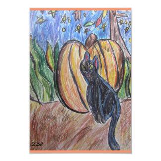 svart katt två 8,9 x 12,7 cm inbjudningskort