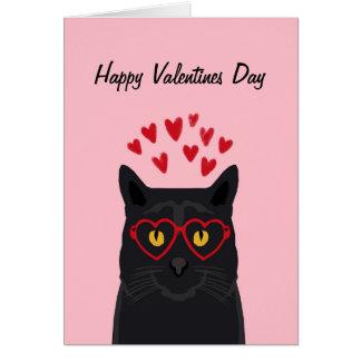 Svart katter för kärlek för kattvalentineskort hälsningskort
