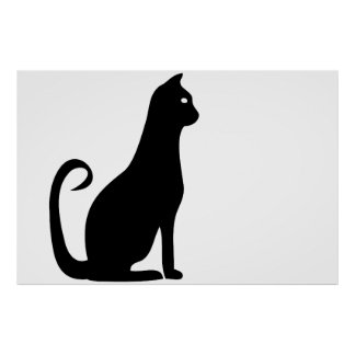 Svart kattfödelsedag poster