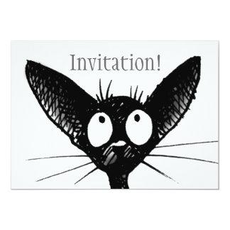 Svart kattinbjudan 12,7 x 17,8 cm inbjudningskort