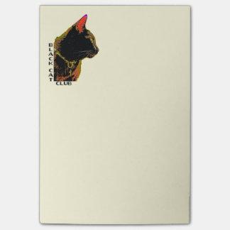 Svart kattklubb som Posta-Det noterar Post-it Block