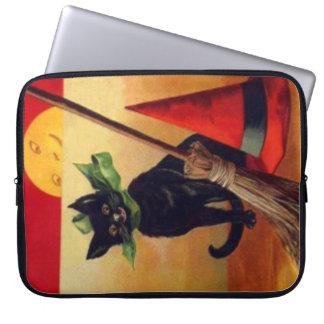 Svart kattkvasthäxa fullmåne för hatt laptop fodral