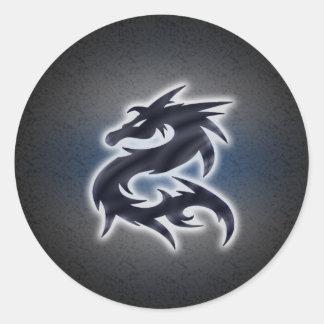 Svart kinesisk drake runt klistermärke