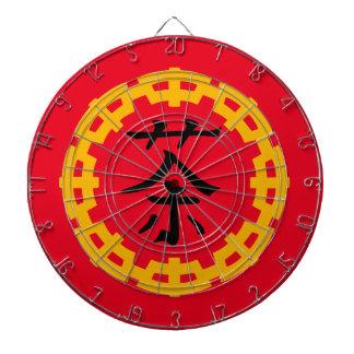 Svart kinesiskt symbol för Tea, gul drakegräns Darttavla